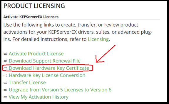 Licensing | Support Center | Kepware